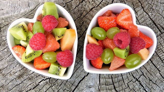 Fruits in heart-shaped bowls